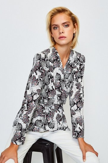 Grey Long Sleeve Snake Print Wrap Top