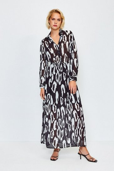 Black Animal Print Shirt Dress