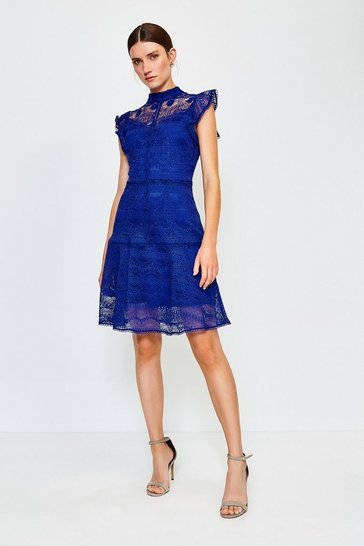 Dark blue Chemical Lace Ruffle Sleeveless Midi Dress