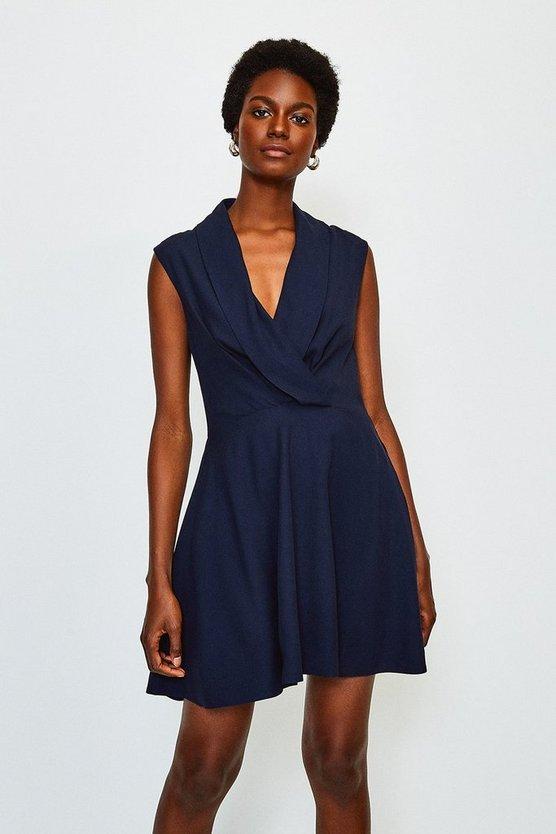 Navy Drape Wrap Sleeveless Dress