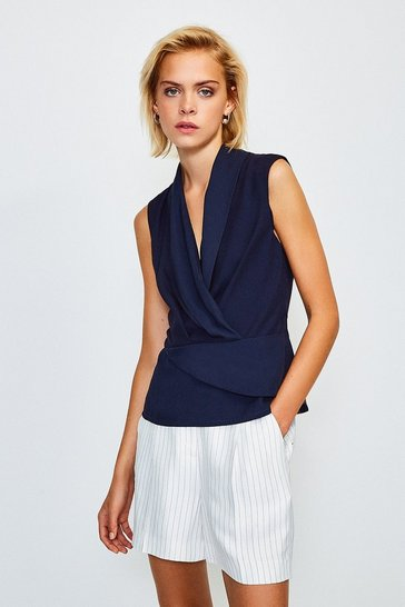 Navy Sleeveless Drape Wrap Top