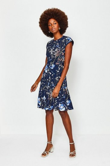 Navy Meadow Print Short Sleeve Dress
