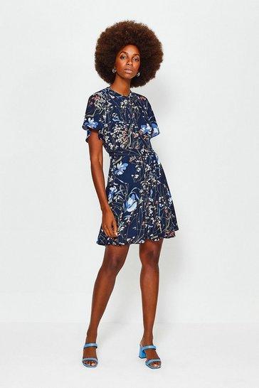 Blue Meadow Print Dress