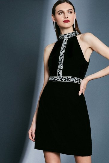 Black Velvet Halter With Diamante Detail Dress