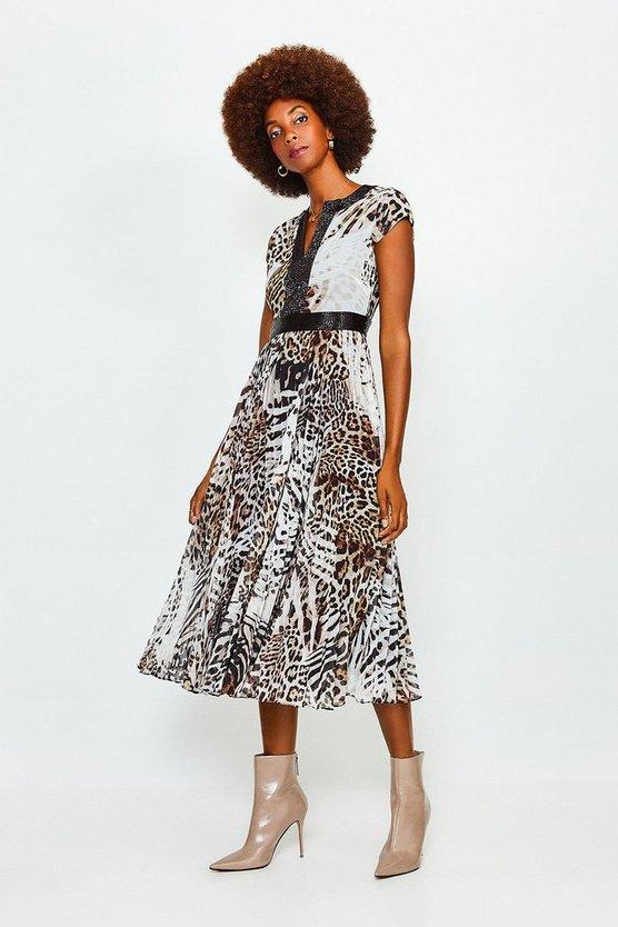 Blackwhite Beaded And Print Pleat Midi Dress