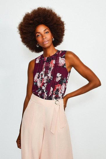 Pink Pintuck Rose Print Top