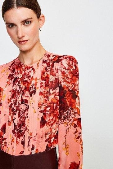 Peach Rose Print Pintuck Blouse