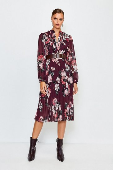 Orange Rose Print Pintuck Midi Dress