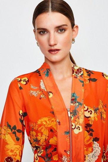 Orange Floral Print Blouse