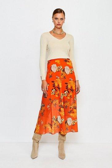 Orange Floral Print Midi Skirt