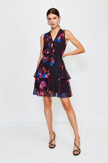 Black Floral Print Ruffle Short Dress