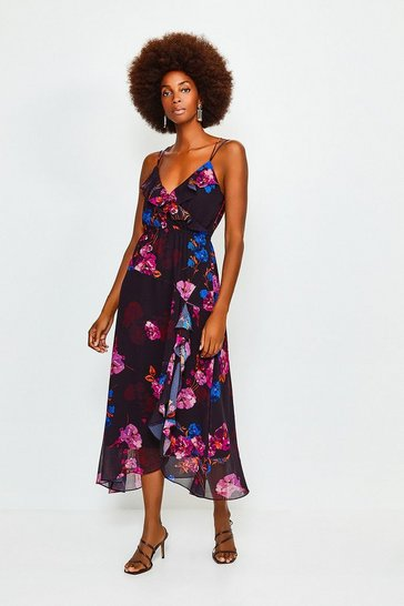 Black Frill Print Maxi Dress