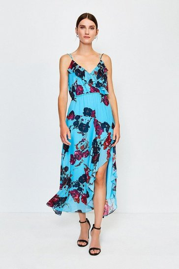 Blue Frill Print Maxi Dress