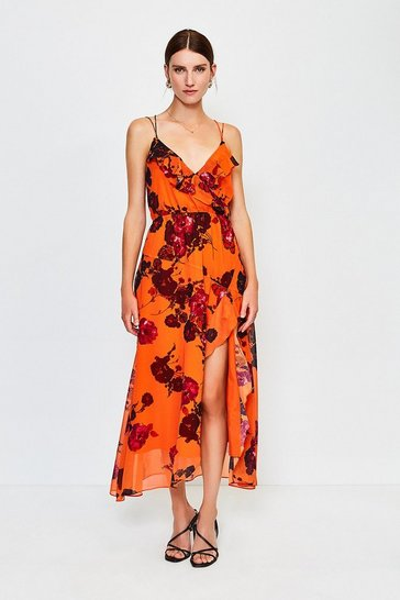 Orange Frill Print Maxi Dress