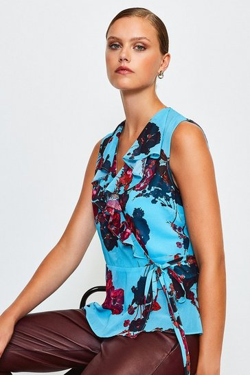 Blue Sleeveless Floral Frill Wrap Top