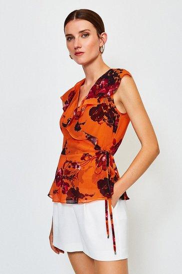 Orange Sleeveless Floral Frill Wrap Top