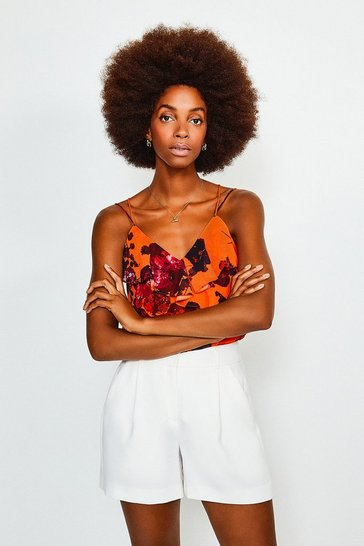Orange Floral Frill Cami