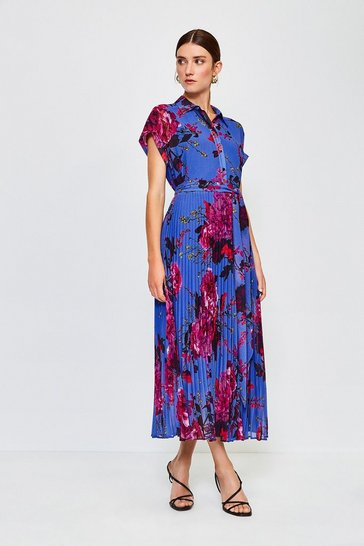 Blue Print Drama Shirt Maxi Dress
