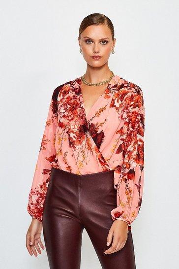 Peach Floral Print Drama Wrap Body