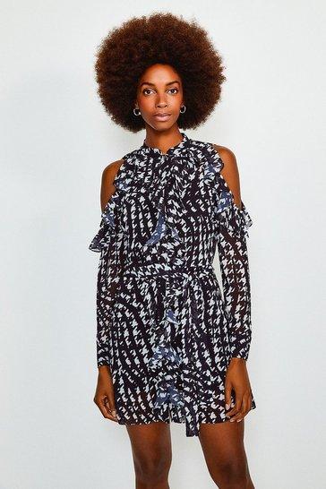 Black Printed Cold Shoulder Frill Dress