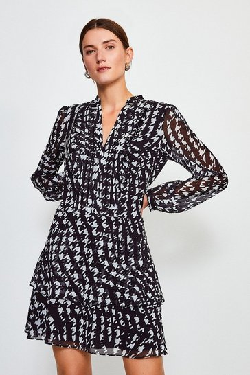 Black Printed Pintuck Mini Dress