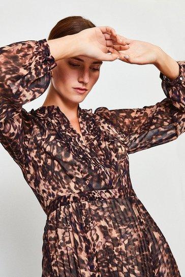 Brown Printed Pintuck Midi Dress