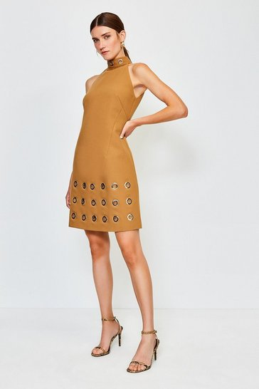Tan Eyelet Hem Halterneck Dress