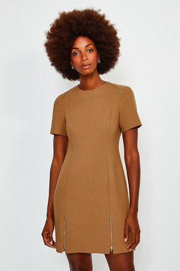 Tan Double Zip Hem A Line Dress