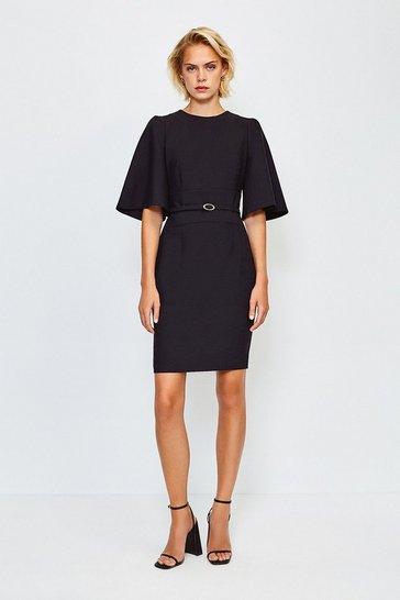 Black Flare Sleeved Shift Dress