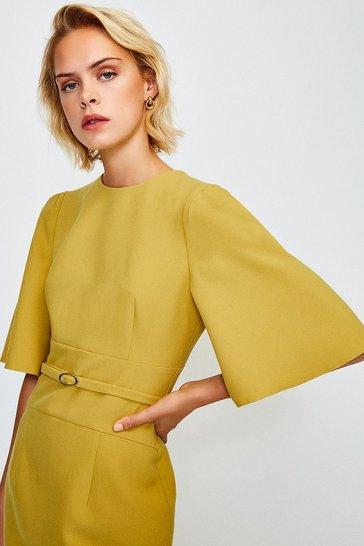 Mustard Flare Sleeved Shift Dress
