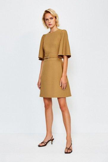 Tan Flare Sleeved A Line Dress