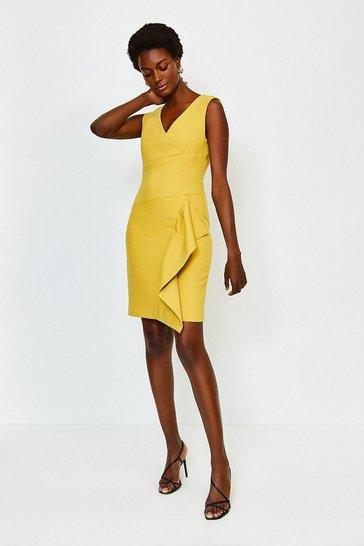 Mustard Wrap Waterfall Short Dress
