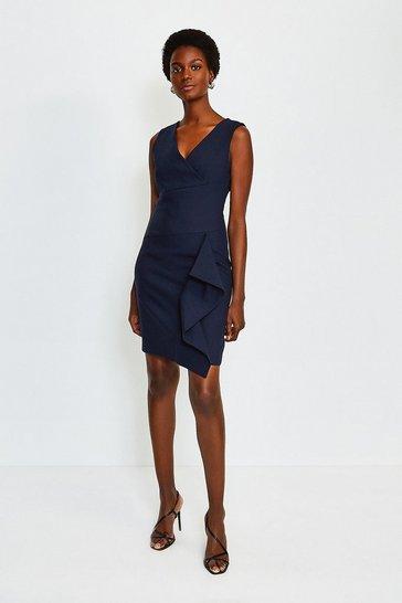 Navy Wrap Waterfall Short Dress