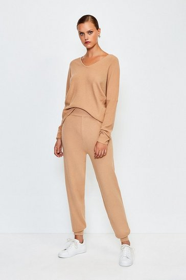 Camel Knit Soft Yarn Cuffed Jogger