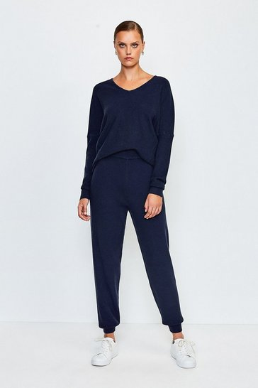 Navy Knit Soft Yarn Cuffed Jogger