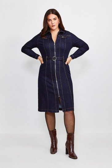 Dark wash Curve Long Sleeve Denim Zip Front Dress