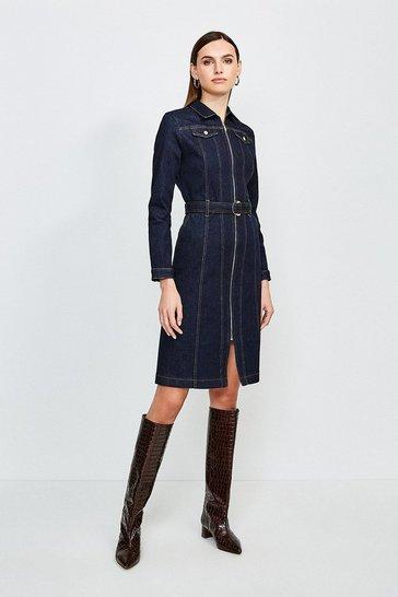 Dark wash Long Sleeve Denim Zip Front Dress