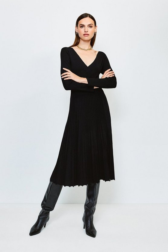 Black Wrap Pleated Skirt Knitted Dress