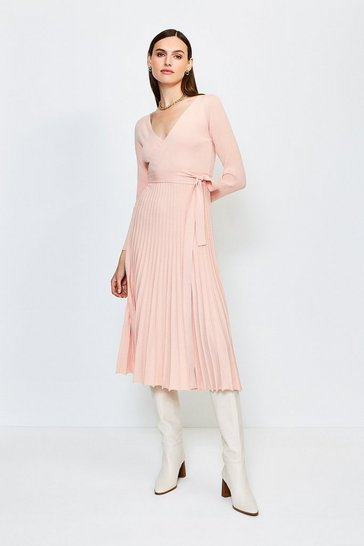 Blush Wrap Pleated Skirt Knitted Dress