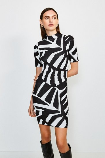 Blackwhite Abstract Jacquard Knitted Dress