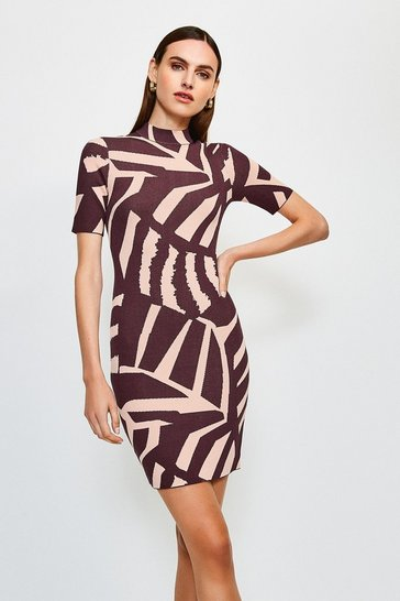 Multi Abstract Jacquard Knitted Dress