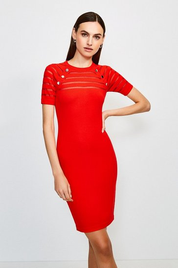 Red Sheer Stripe Knitted Dress