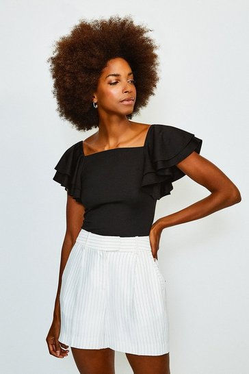 Black Square Neck Frill Sleeve Top