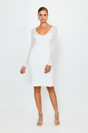 Ivory Sheer Sleeve Knitted Dress