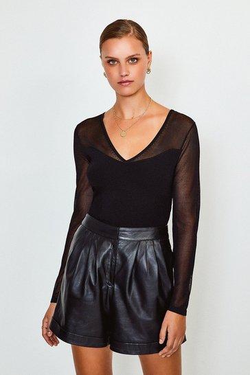 Black Sheer Sleeve Knitted Top