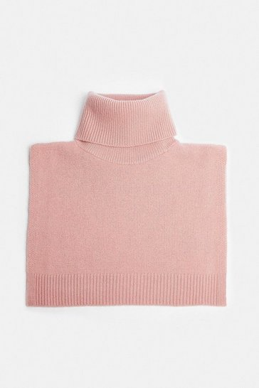 Dusty pink Cashmere Ribbed Roll Neck Snood