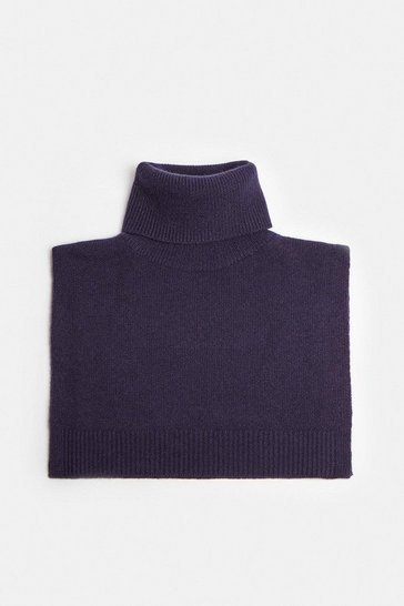 Navy Cashmere Ribbed Roll Neck Snood