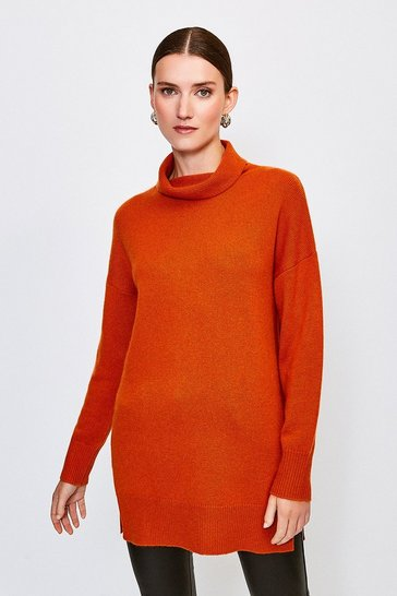 Burnt orange Cashmere Roll Neck Jumper