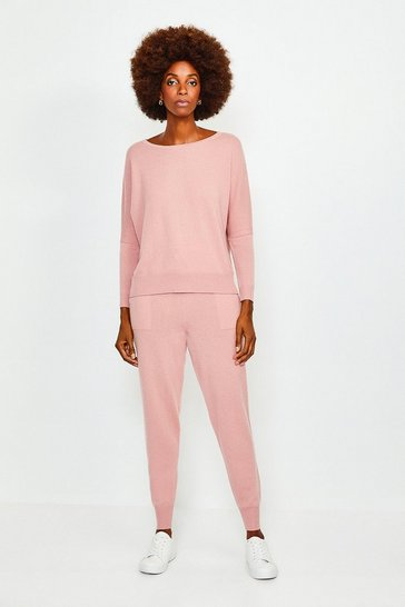 Dusty pink Cashmere Draped Shoulder Jumper