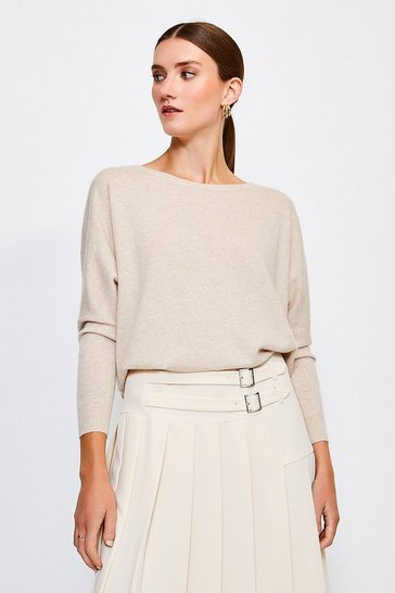 Oatmeal Cashmere Draped Shoulder Jumper